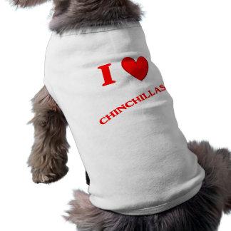 Amo chinchillas camiseta de perrito