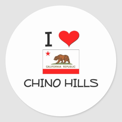 Amo CHINO HILLS California Pegatina Redonda