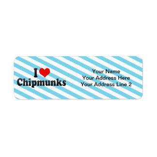 Amo Chipmunks Etiqueta De Remite
