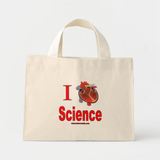 Amo ciencia bolsa de tela pequeña