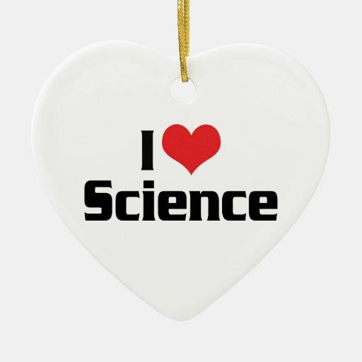 Amo ciencia del corazón adorno navideño de cerámica en forma de corazón