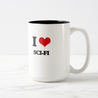 Amo ciencia ficción taza de café de dos colores