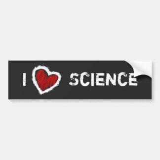 ¡Amo ciencia! (grunge en negro) Pegatina Para Auto