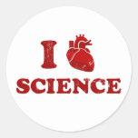 amo ciencia/la anatomía del corazón de la ciencia/ pegatina