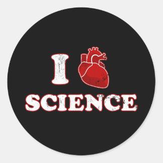 amo ciencia/la anatomía del corazón de la pegatina redonda