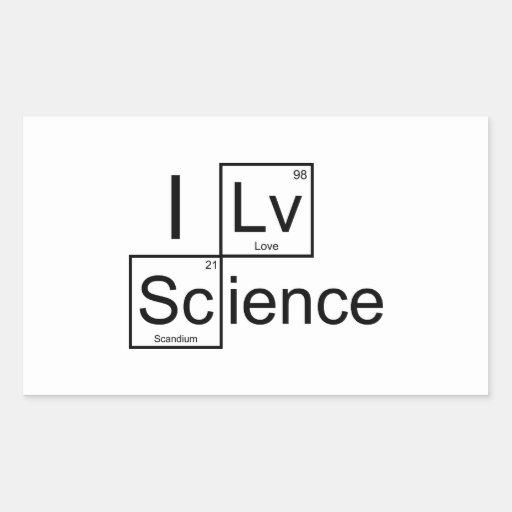 Amo ciencia pegatina rectangular