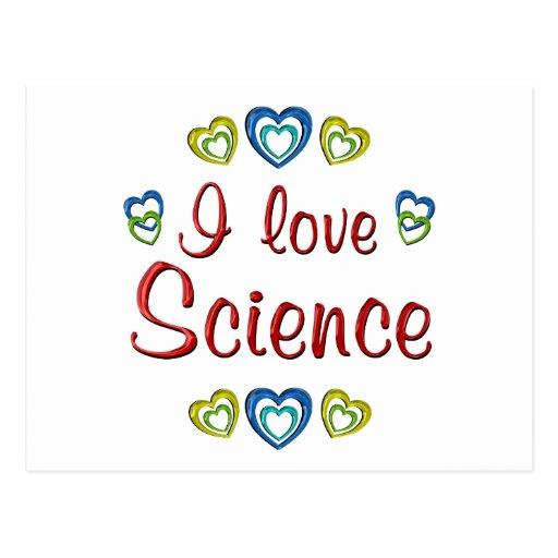 Amo ciencia tarjeta postal