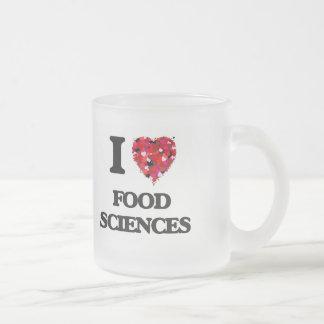 Amo ciencias de la alimentación taza de cristal