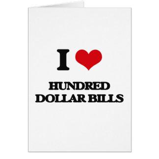 Amo cientos billetes de dólar tarjeta de felicitación