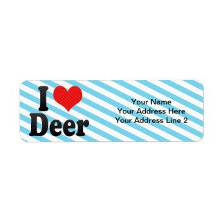 Amo ciervos etiqueta de remitente
