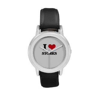 Amo cigüeñas relojes de pulsera