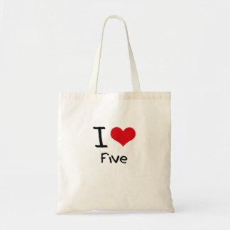 Amo cinco bolsa lienzo