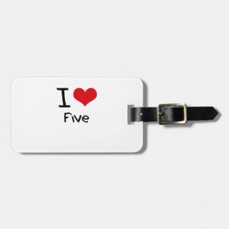 Amo cinco etiqueta de equipaje