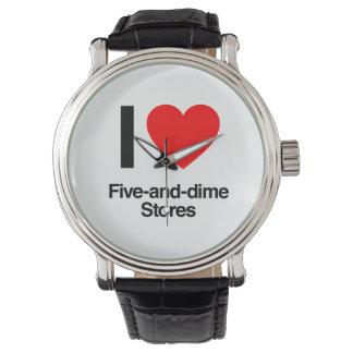 amo cinco y tiendas de moneda de diez centavos reloj