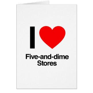 amo cinco y tiendas de moneda de diez centavos tarjeta de felicitación