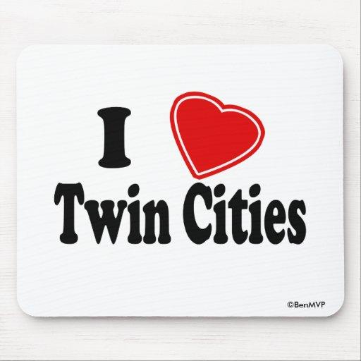 Amo ciudades gemelas tapetes de ratón