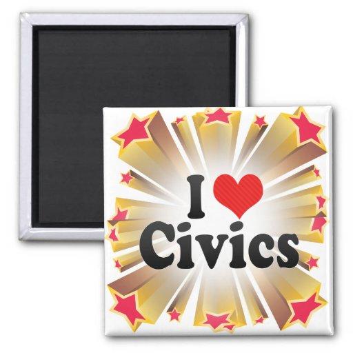 Amo Civics Imán Cuadrado