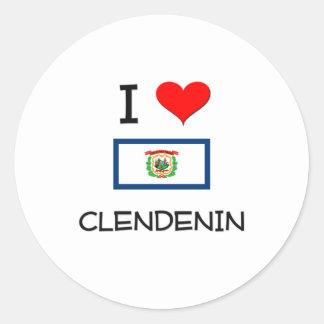 Amo Clendenin Virginia Occidental Pegatina Redonda