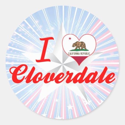 Amo Cloverdale, California Pegatina Redonda