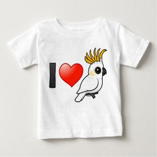 Amo Cockatoos Amarillo-con cresta (para arriba) Playera De Bebé