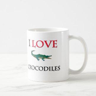 Amo cocodrilos taza básica blanca