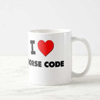 Amo código Morse Taza Básica Blanca