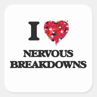 Amo colapsos nerviosos pegatina cuadrada