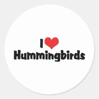 Amo colibríes etiquetas redondas