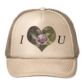 Amo color de rosa suave gorras