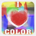 Amo color pegatina cuadrada
