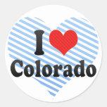 Amo Colorado Pegatina Redonda