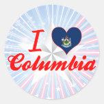 Amo Columbia, Maine Etiquetas Redondas