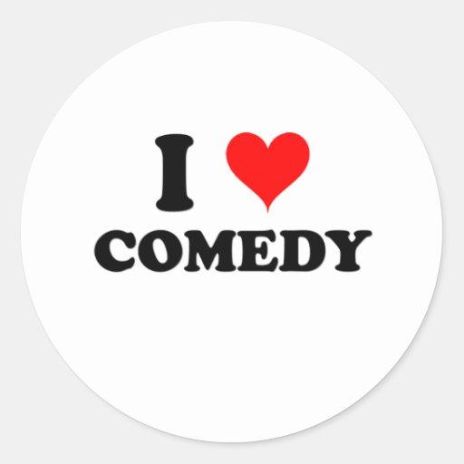 Amo comedia pegatina redonda