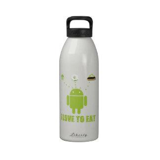Amo comer (el Eclair androide de la magdalena de D Botellas De Agua Reutilizables