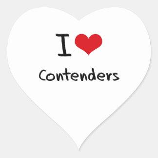 Amo competidores calcomanías de corazones
