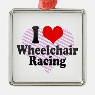 Amo competir con de la silla de ruedas adorno cuadrado plateado