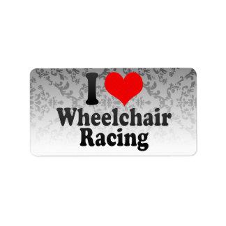 Amo competir con de la silla de ruedas etiqueta de dirección