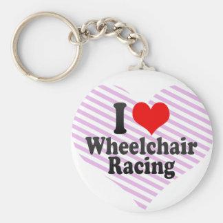 Amo competir con de la silla de ruedas llavero
