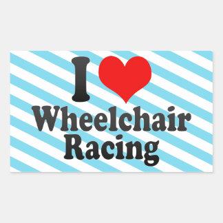 Amo competir con de la silla de ruedas pegatina rectangular