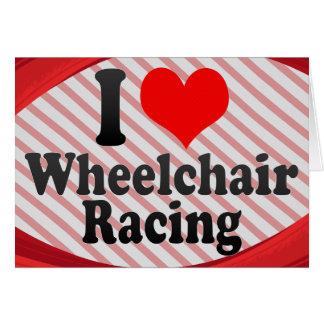 Amo competir con de la silla de ruedas felicitaciones