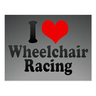 Amo competir con de la silla de ruedas tarjetas postales