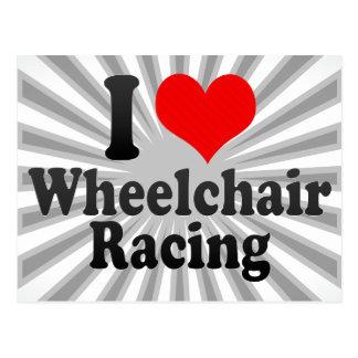 Amo competir con de la silla de ruedas tarjeta postal