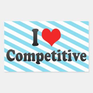 Amo competitivo rectangular pegatina