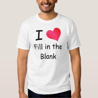 Amo (complete el espacio en blanco) la camiseta playeras