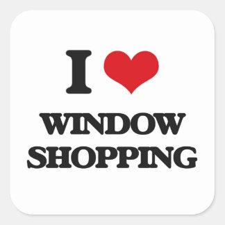 Amo compras de la ventana pegatina cuadrada