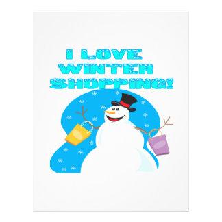 Amo compras del invierno tarjetas publicitarias