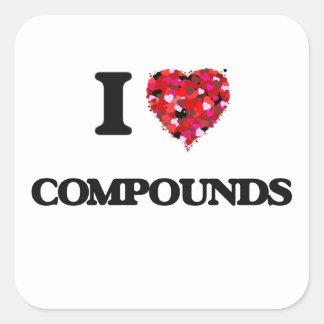 Amo compuestos pegatina cuadrada