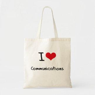 Amo comunicaciones bolsas lienzo