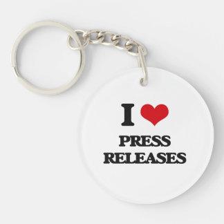 Amo comunicados de prensa llavero redondo acrílico a una cara
