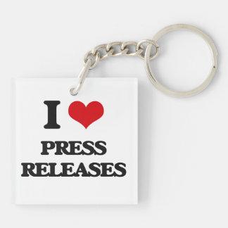 Amo comunicados de prensa llavero cuadrado acrílico a doble cara